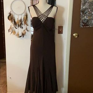 S.L.fashions Chocolate brown strappy maxi dress